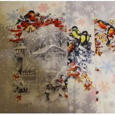 """Полотенца  Новогодние рогожка (лён) """"Снегири"""""""